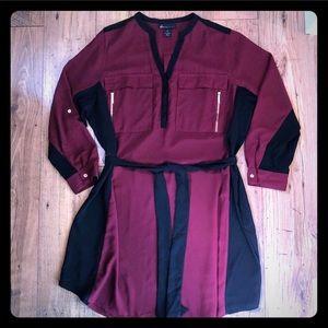 Lane Bryant maroon belted shirt shift dress sz 26